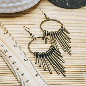 PinkDiva Boutique Jewelry - Mid Century Modern Style Antiqued Brass Earrings